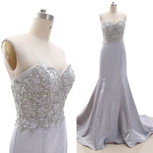 Dresses & Skirts - Mermaid Strapless Silver Prom Pageant Gown Evening